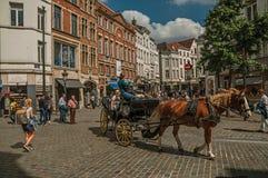 人们和运输车有马的在布鲁塞尔街道  免版税库存照片