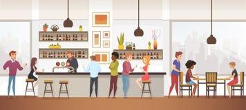 人们喝Coffe入内部传染媒介咖啡馆酒吧 向量例证