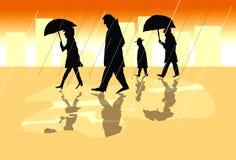 人们在一个城市在一个雨天-在comoc小条样式的例证与生动的颜色 免版税库存照片