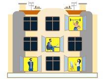 人们在一公寓天的窗口里 执行家庭的差事 在最低纲领派样式 平的等量传染媒介 皇族释放例证