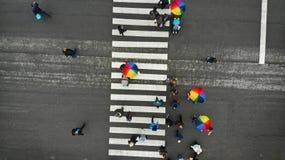 人们在一讨厌的天拥挤横渡一条步行行人穿越道 有些与五颜六色的伞 r 库存照片