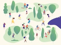 人们在公园 在室外活动的家庭在野餐 人,与乘坐自行车滑板的智能手机的妇女孩子 皇族释放例证