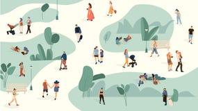 人们在公园 时髦男人和妇女在夏天公园,动画片拥挤走大人小组 传染媒介人休闲 向量例证