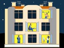 人们在公寓的窗口里 执行家庭的差事 在最低纲领派样式 平的等量传染媒介 库存例证
