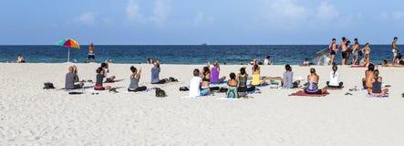 人们在南海滩的海边 免版税库存照片