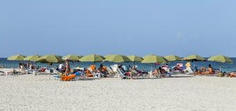 人们在南海滩的海边 库存照片