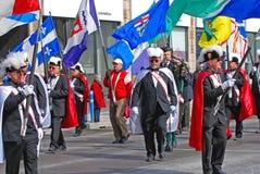 人们在圣帕特里克` s天游行,渥太华,加拿大 免版税库存照片