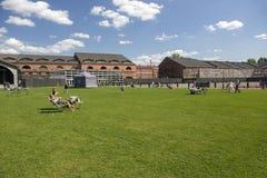 人们在城市公园放松'新的荷兰的'疆土在圣彼德堡 免版税库存照片