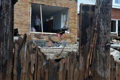 人们在希捷中失去了他们的房子 图库摄影