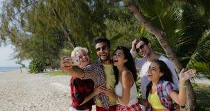 人们在海滩编组拍在细胞巧妙的电话、快乐的人和妇女游人通信的Selfie照片 股票录像