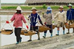 人们在盐农场工作在Huahin,泰国 免版税库存图片