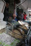 """人们在索非亚,保加利亚买在一个肮脏的海鲜市场上的鲜鱼外面†""""2008年12月5日 免版税库存照片"""