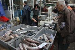 """人们在索非亚,保加利亚买在一个肮脏的海鲜市场上的鲜鱼外面†""""2008年12月5日 免版税库存图片"""