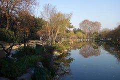 人们在美好的风景区附近在韩走在西湖 免版税图库摄影