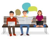 人们坐长凳和份额信息 一个人读一张报纸,并且女孩自由职业者研究膝上型计算机 库存例证