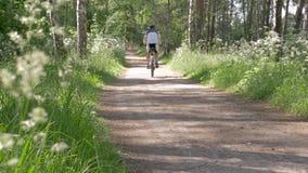 人们带领一种健康生活方式 一个人在公园骑一辆自行车 影视素材