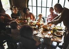 人们庆祝感恩天 免版税库存图片