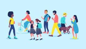 人们或路人在街道上 男人、通过的妇女和的孩子,走,骑马自行车,听到音乐 现代的城市 库存例证