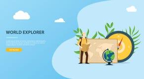 人们探索和冒险与地图指南针和世界地图的世界网站模板 库存例证