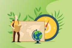 人们探索和冒险与地图指南针和世界地图的世界 库存例证