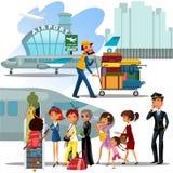 人们爬飞机,登陆的人的梯子,并且飞机的妇女在机场导航例证,有袋子的乘客 皇族释放例证