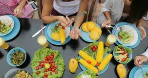 人们编组吃健康素食食物油罐顶部角钢视图,谈的朋友坐在表上的通信 股票视频
