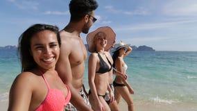 人们谈话与走在海滩愉快微笑,年轻游人小组通信美好的风景的您 影视素材