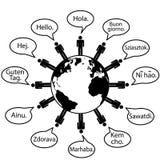 人们说的地球你好语言转换 免版税库存图片