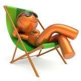 人休息海滩轻便折叠躺椅太阳镜微笑的夏天作白日梦 库存例证