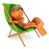 人休息的海滩轻便折叠躺椅太阳镜微笑的游人放松 皇族释放例证