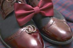 人伯根地衣服、蝶形领结和葡萄酒皮鞋在纺织品花呢背景 免版税库存图片
