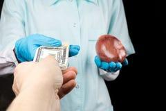 人体器官的黑市 卖心脏 免版税库存照片