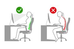 人体工程学-妇女正确和不正确坐姿的线描,当使用计算机时 皇族释放例证
