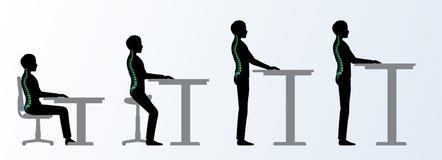 人体工程 高度可调整的书桌或桌姿势 向量例证