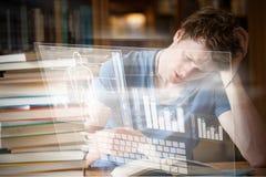人体的例证的综合图象与长条图和键盘的 免版税库存照片