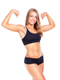 年轻人体育女孩做在白色的锻炼 库存图片