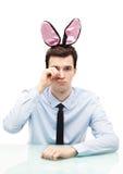 人佩带的兔宝宝耳朵 免版税库存图片