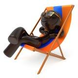 人使变冷的海滩轻便折叠躺椅夏天微笑的字符放松 向量例证