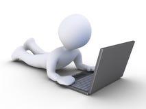 人使用一台计算机 免版税库存照片
