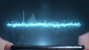人使用调平器声音的未来派全息图在电话的 向量例证