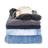 人便衣衬衣和斜纹布 免版税库存照片