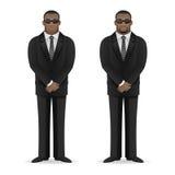 黑人保镖在闭合的姿势站立 免版税库存图片