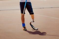 人假肢腿的失去能力的运动员 库存图片
