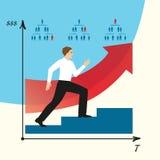 人做事业 人在事业梯子去 EPS, JPG 免版税库存照片