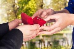 年轻人做提案他的女朋友 库存照片