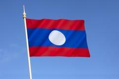 人共和国的旗子老挝 库存照片