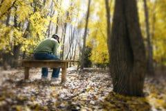 人冥想在一条长凳的生活问题在秋天Fo 库存照片