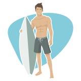 年轻人冲浪者拿着冲浪板 图库摄影