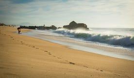 人剪影获得在沙滩的乐趣与波浪热的晴天在大西洋海岸, capbreton,法国的10月 库存照片