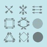 黑人剪影阿兹台克人和部族箭头标志和被设置的箭头框架 免版税库存图片